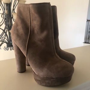 'Maple Brown' Suede Block Heel Bootie